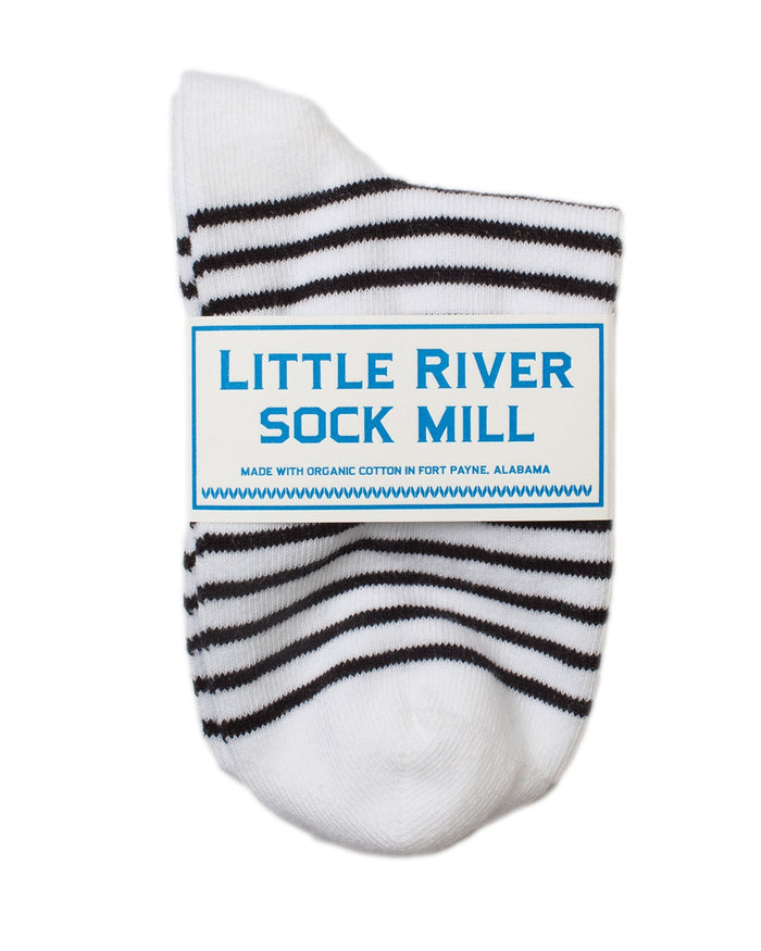 689d61066 Little River Sock Mill Accessories White Black   O S The Striped Bootie ...
