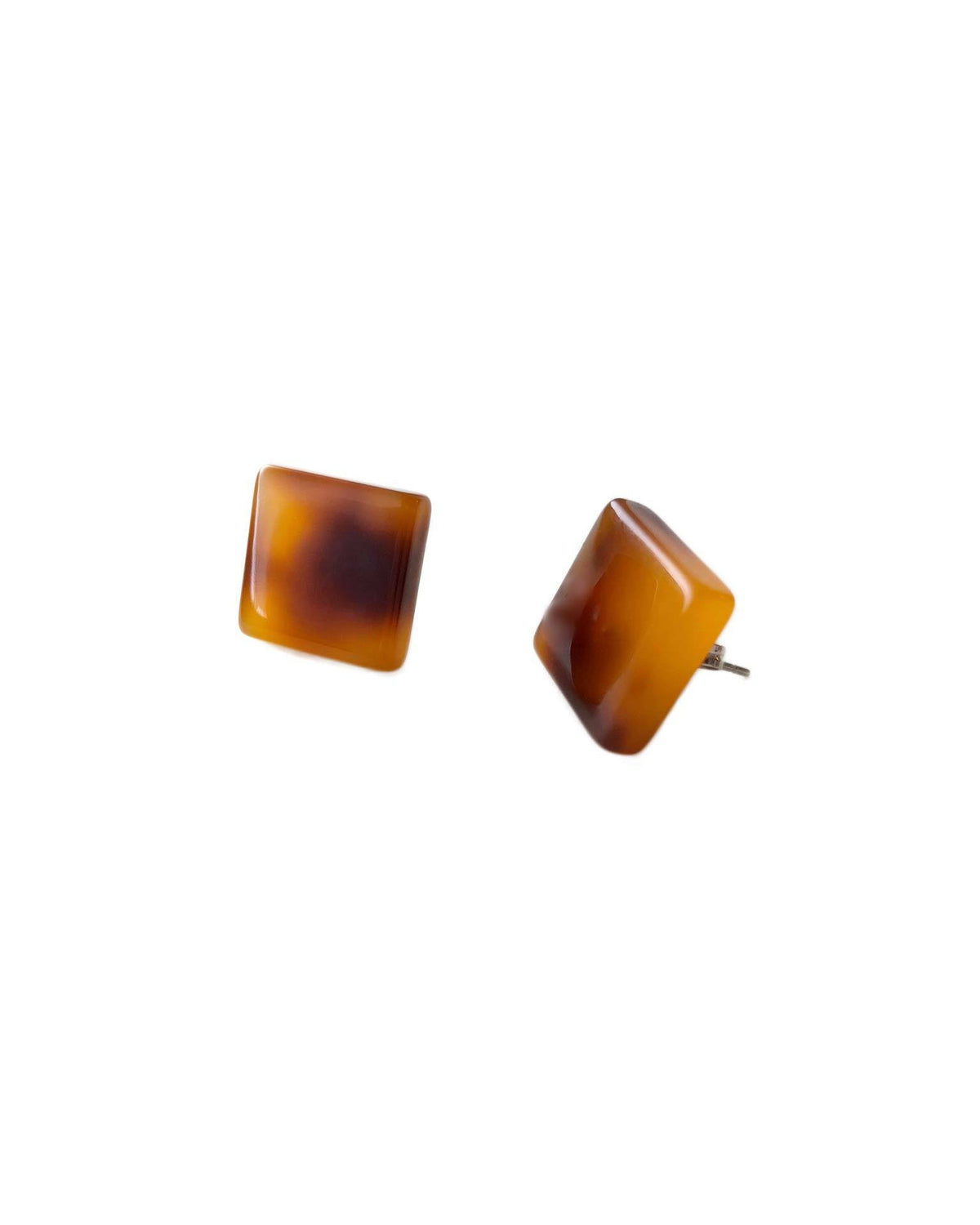 Machete Jewlery Amber Tortoise / O/S Block Earrings