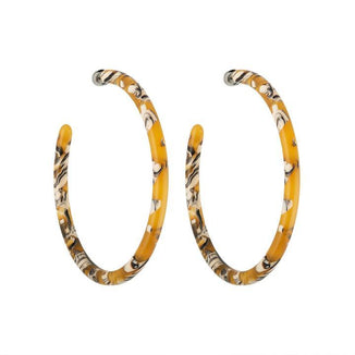Machete Jewlery Calico Large Hoops in Calico