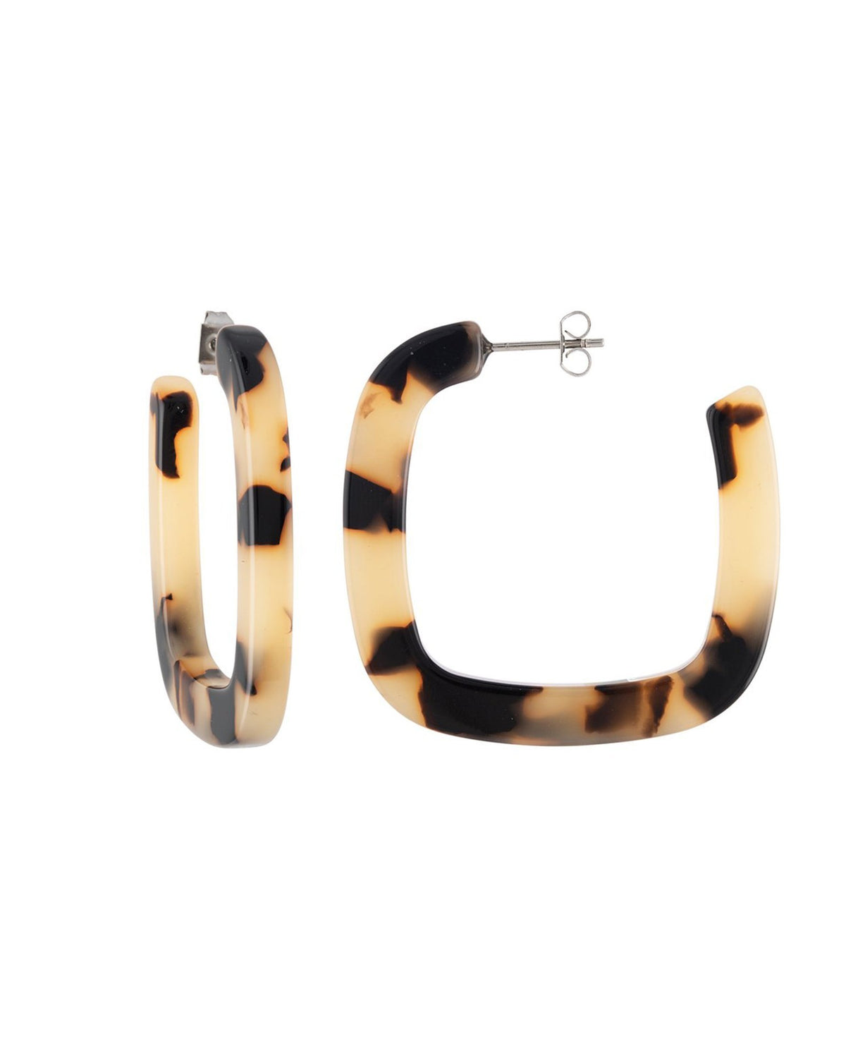 Machete Jewlery Blonde Tortoise / O/S Midi Square Hoops