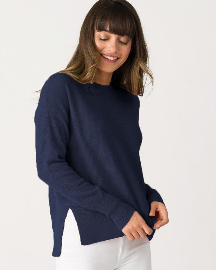 Margaret O'Leary Clothing Navy / XS Rayan Crew in Navy