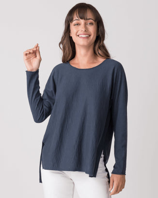 Margaret O'Leary Clothing Riley Scoop Neck Sweater in Slate