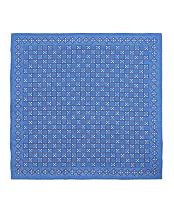 Mois Mont Accessories Japan Blue Cotton Square Domino Scarf