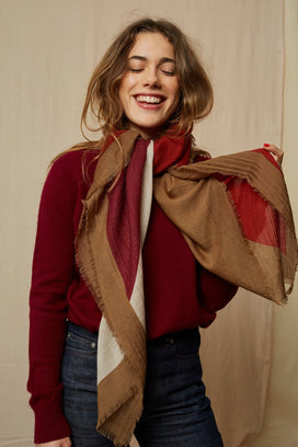 Mois Mont Accessories Large Square Scarf in Rust