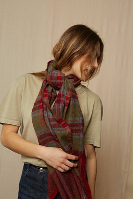 Mois Mont Accessories Plaid Scarf in Burgundy