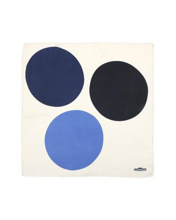 Mois Mont Accessories Ink Blue Silk Square Circles Scarf