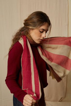 Mois Mont Accessories Stripes Scarf in Pink