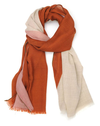 Mois Mont Accessories Firefly Wool Colorblock Scarf in Firefly