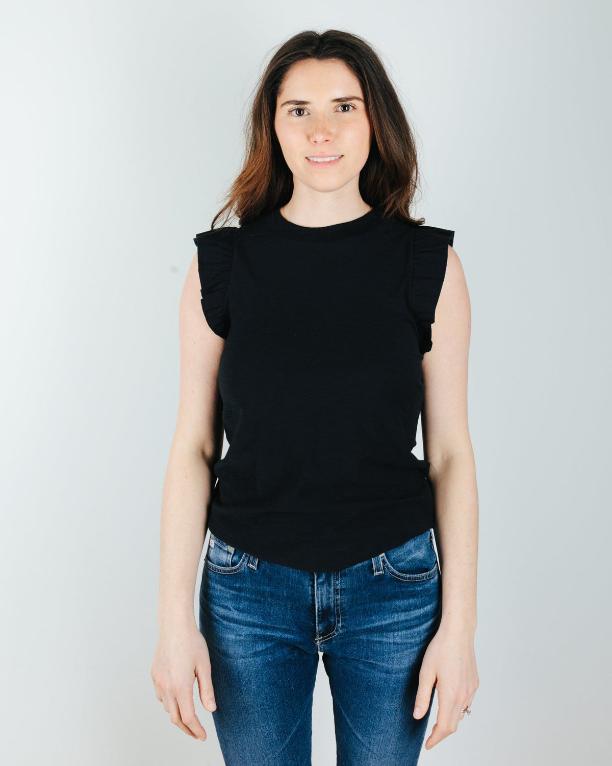Nation LTD Clothing Paulette Ruffled Tank in Jet Black