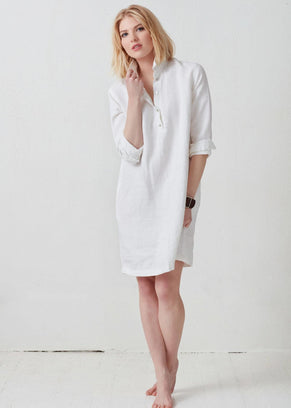 Not Monday Clothing Amelie Shirtdress in White