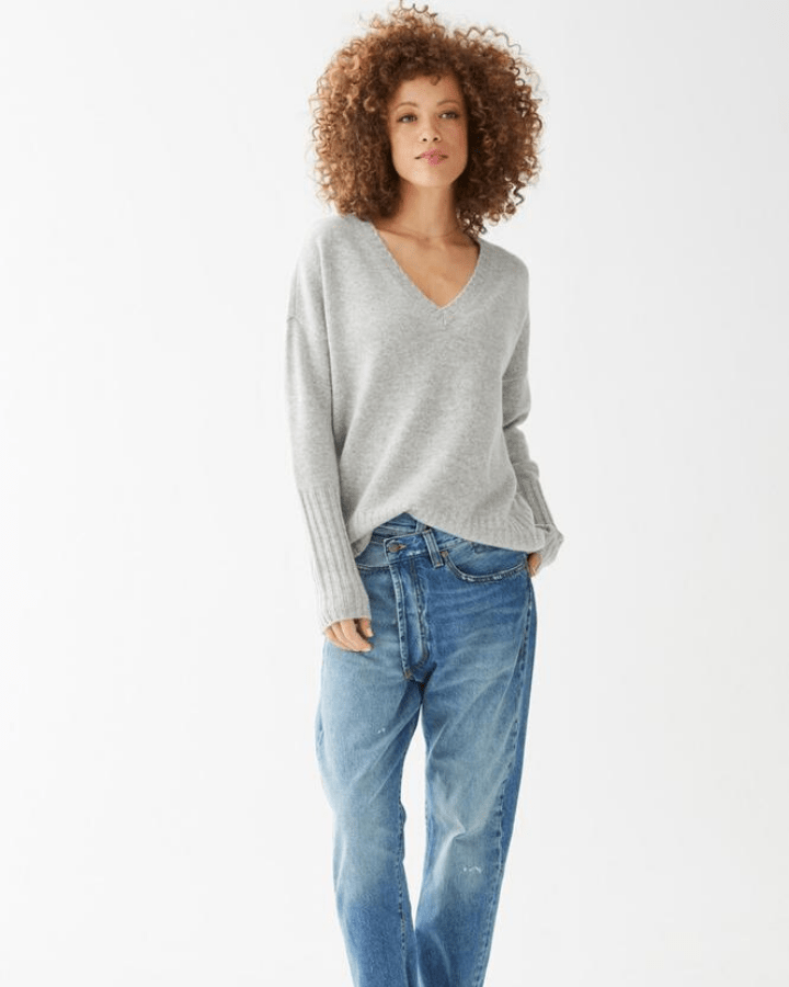 Not Monday Clothing Ella V Neck Sweater in Grey