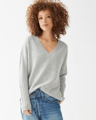 Not Monday Clothing Grey / XS Ella V Neck Sweater in Grey