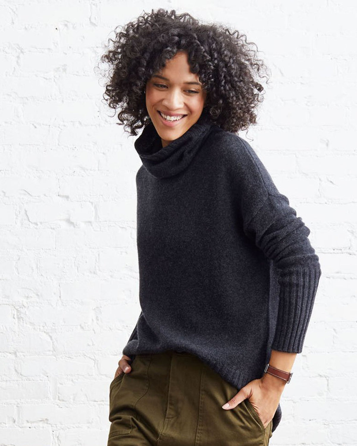 Not Monday Clothing Olivia Turtleneck Sweater in Charcoal