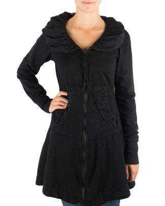Prairie Underground Clothing Black / XS Long Cloak Hoodie in Black