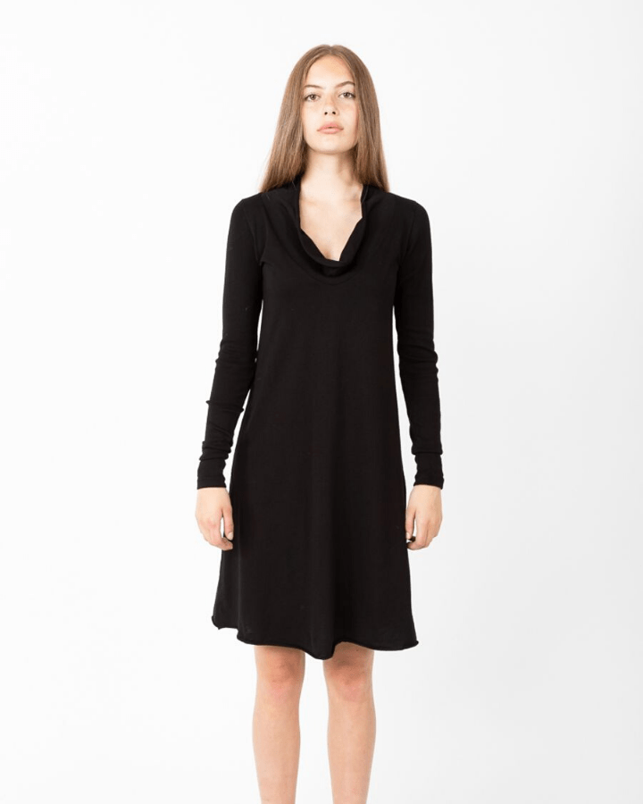 Prairie Underground Clothing Long Sleeve Falconet Dress in Black