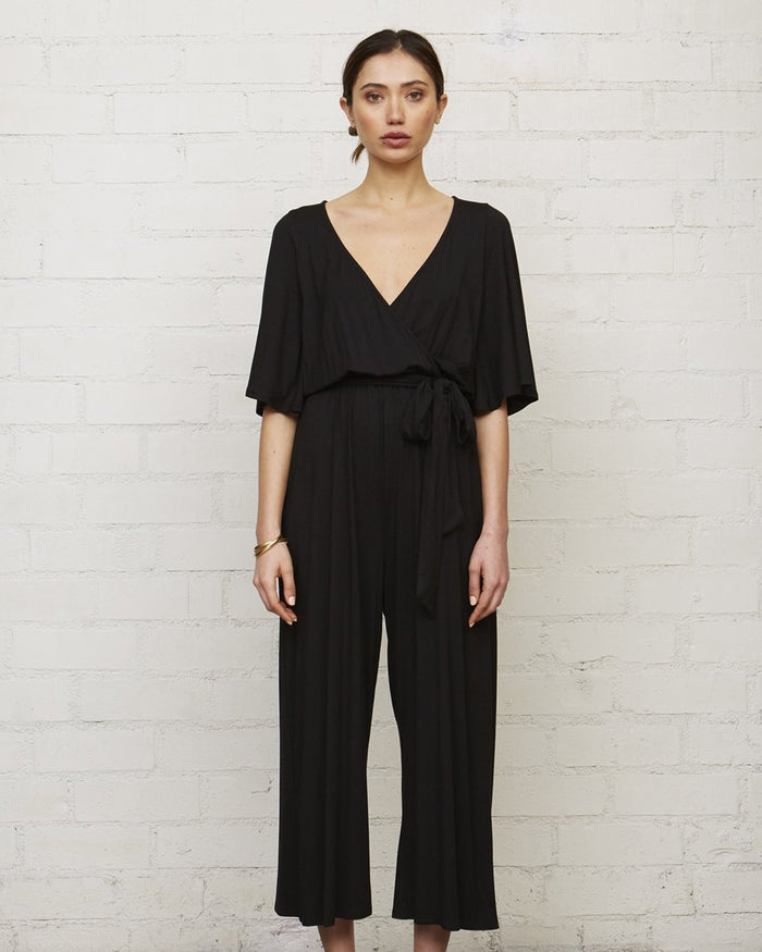 Rachel Pally Clothing Black / XS Cropped Meridith Jumpsuit in Black