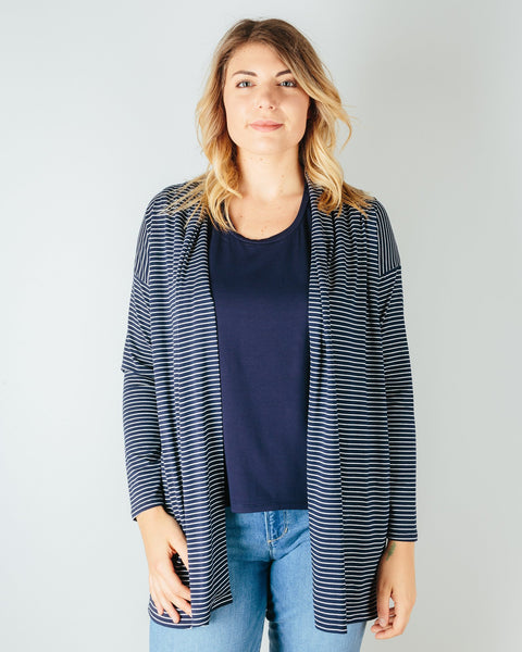 Sarah Liller San Francisco Clothing Navy Stripe / XS Bella Cardigan in Navy Stripe