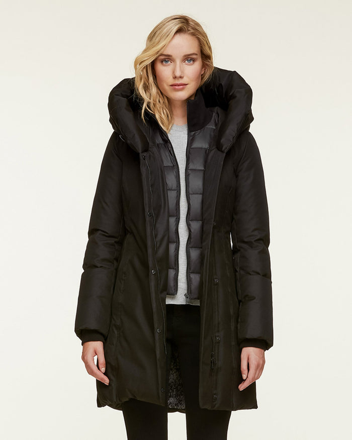 Soia and Kyo (APP Group) Outerwear Black / S Camelia Brushed Down Coat with Leather