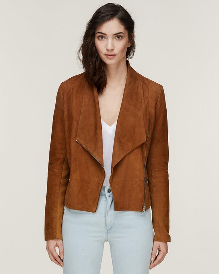Soia and Kyo (APP Group) Outerwear Amber / XS Thora Slim Fit Suede Jacket in Amber