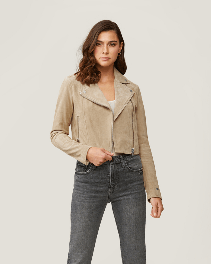 Soia & Kyo Outerwear Elaine Cropped Suede Jacket in Almond