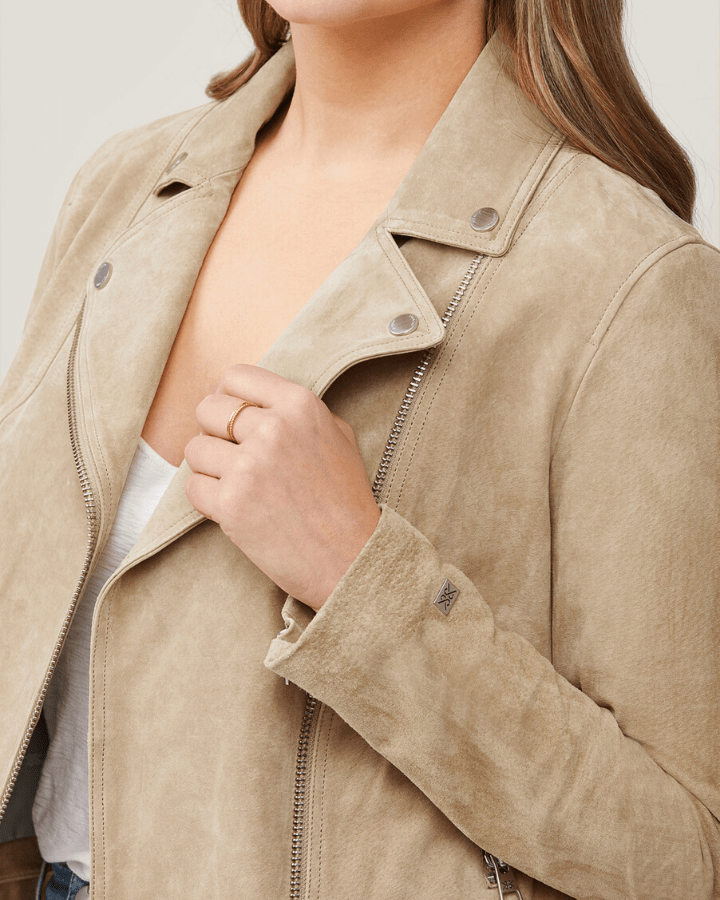 Soia & Kyo Outerwear Almond / XS Elaine Cropped Suede Jacket in Almond