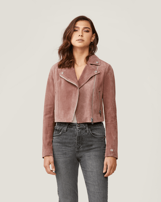 Soia & Kyo Outerwear Rosewater / XS Elaine Cropped Suede Jacket in Rosewater