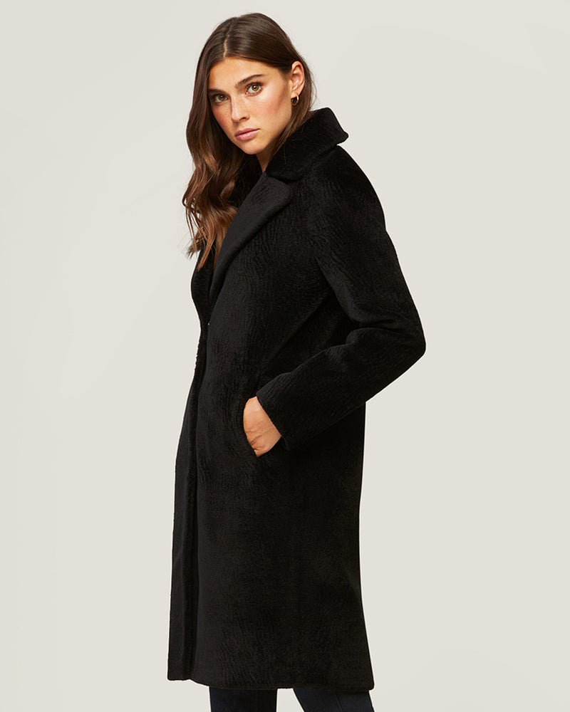 Soia & Kyo Clothing Rubina Embossed Wool Coat in Black