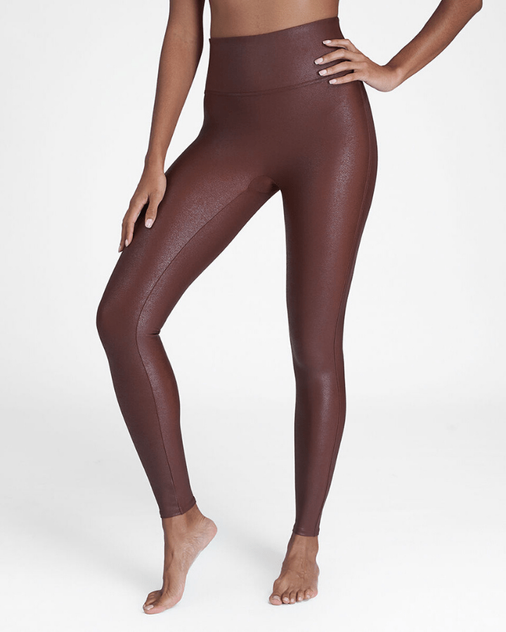 Spanx Clothing Faux Leather Leggings in Mahogany