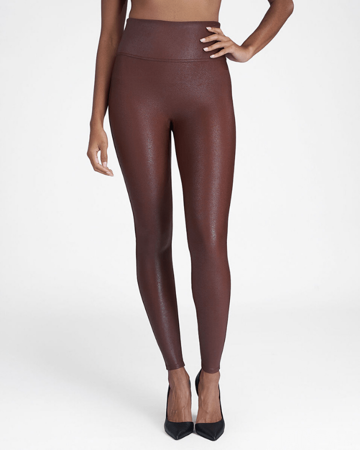 Spanx Clothing XS Faux Leather Leggings in Mahogany