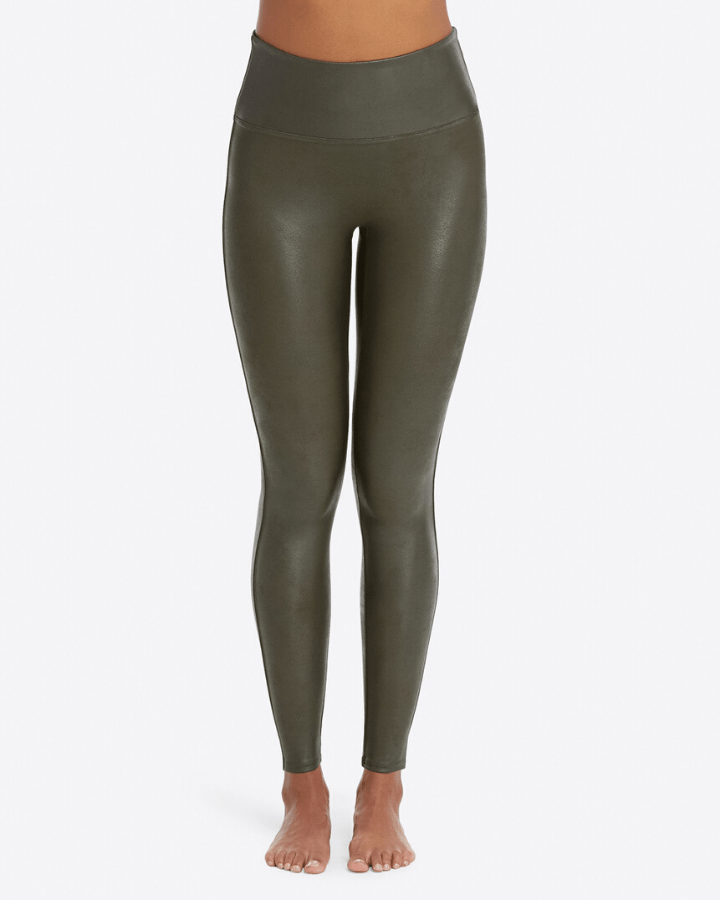 Spanx Clothing XS Faux Leather Leggings in Rich Olive