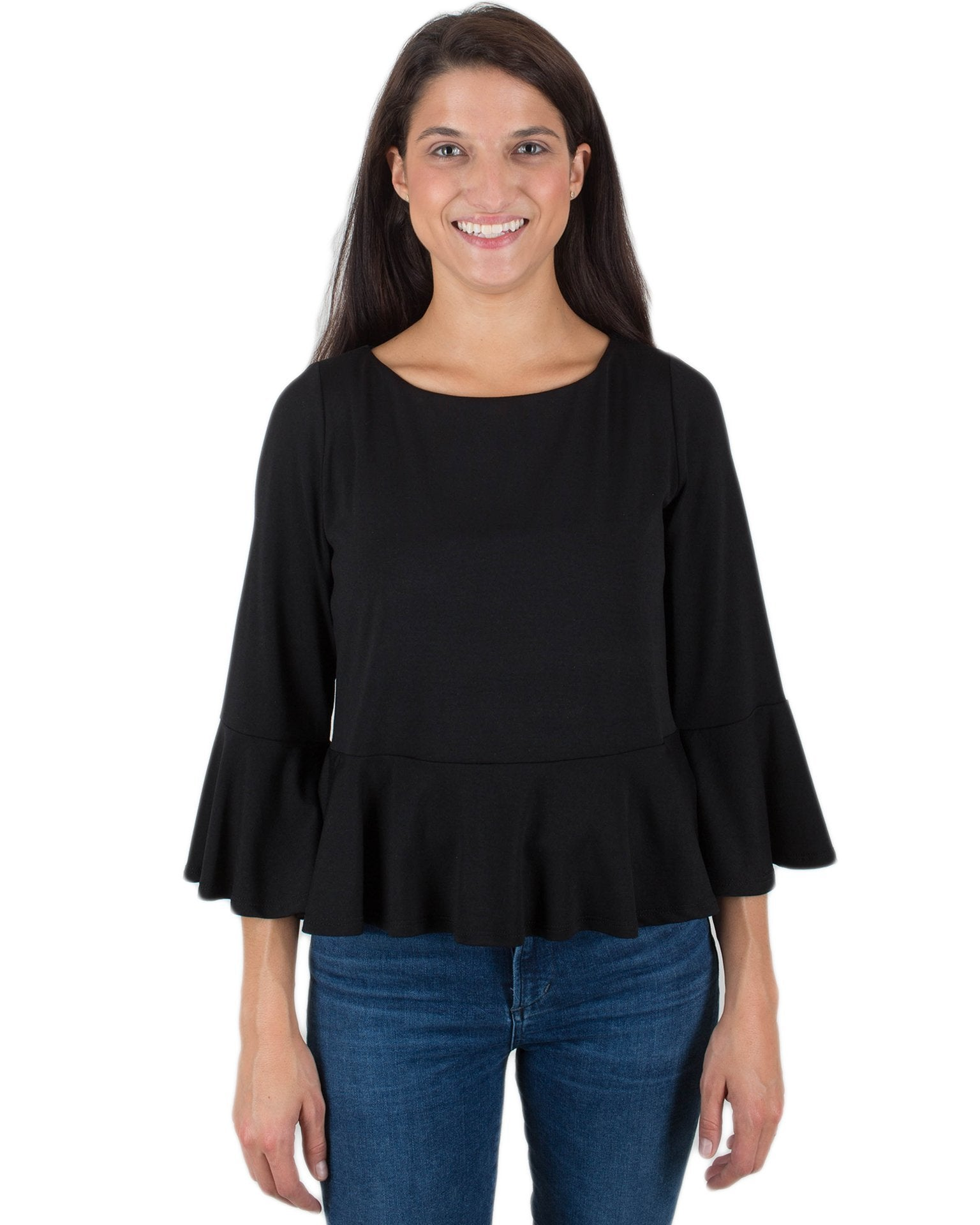 Susana Monaco Clothing Black / XS Ruffle Edge Top