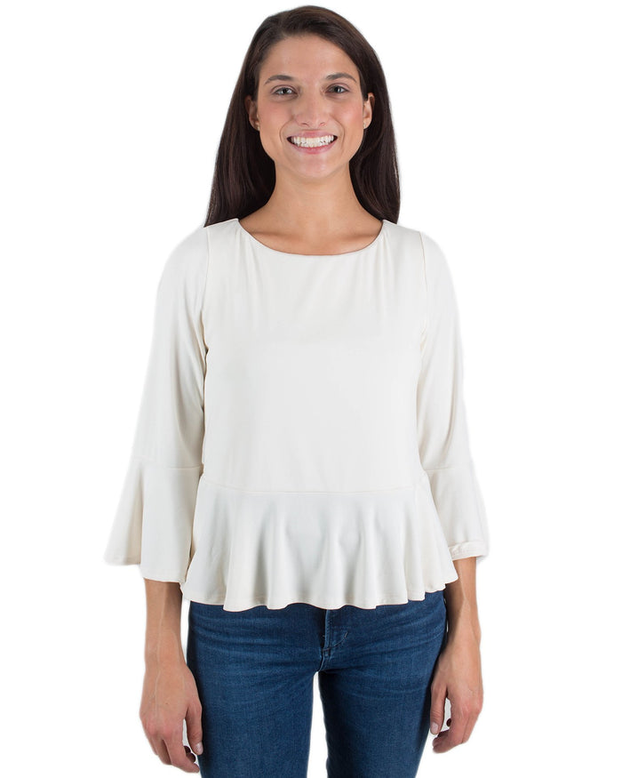 Susana Monaco Clothing Porcelain / XS Ruffle Edge Top