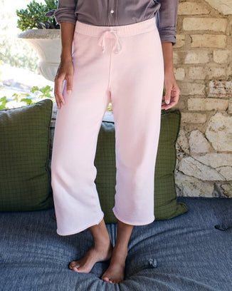 Tee Lab Clothing Cropped Wide Leg Sweatpant in Ballet Slipper