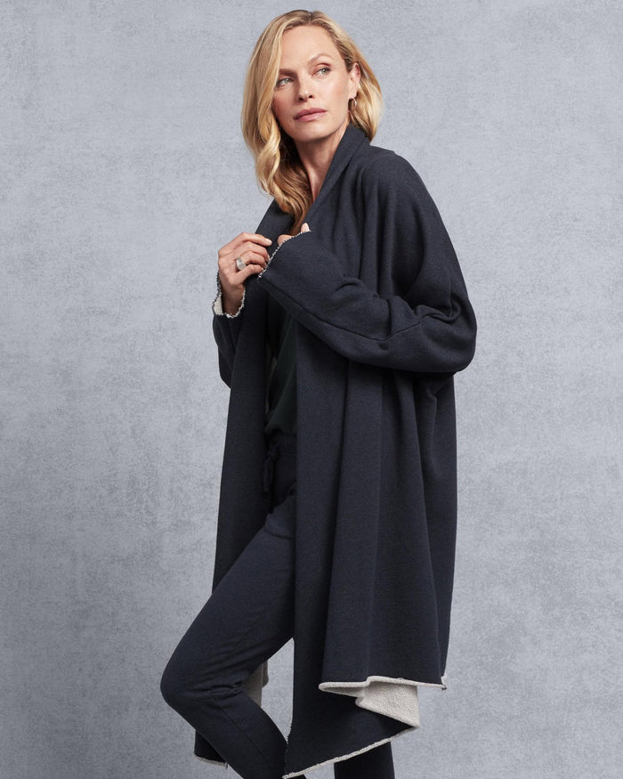 Tee Lab Clothing Drape Coat in Navy Melange