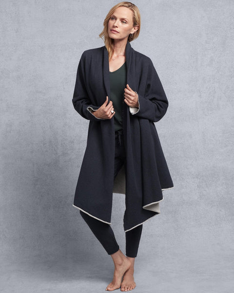 Tee Lab Clothing Navy Melange / XS/S Drape Coat in Navy Melange