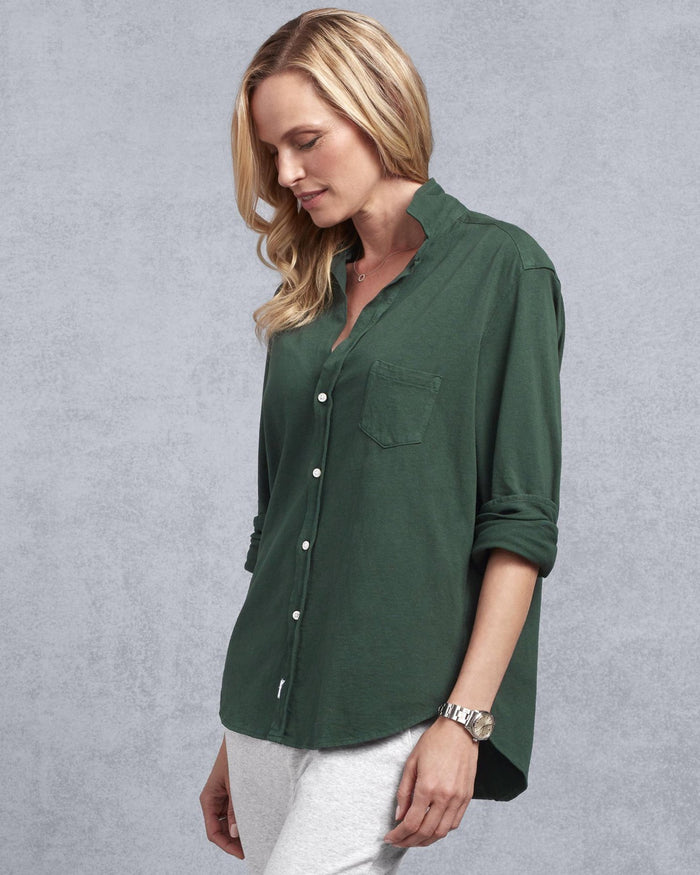 Tee Lab Clothing Eileen Knit Button Up in British Racing Green