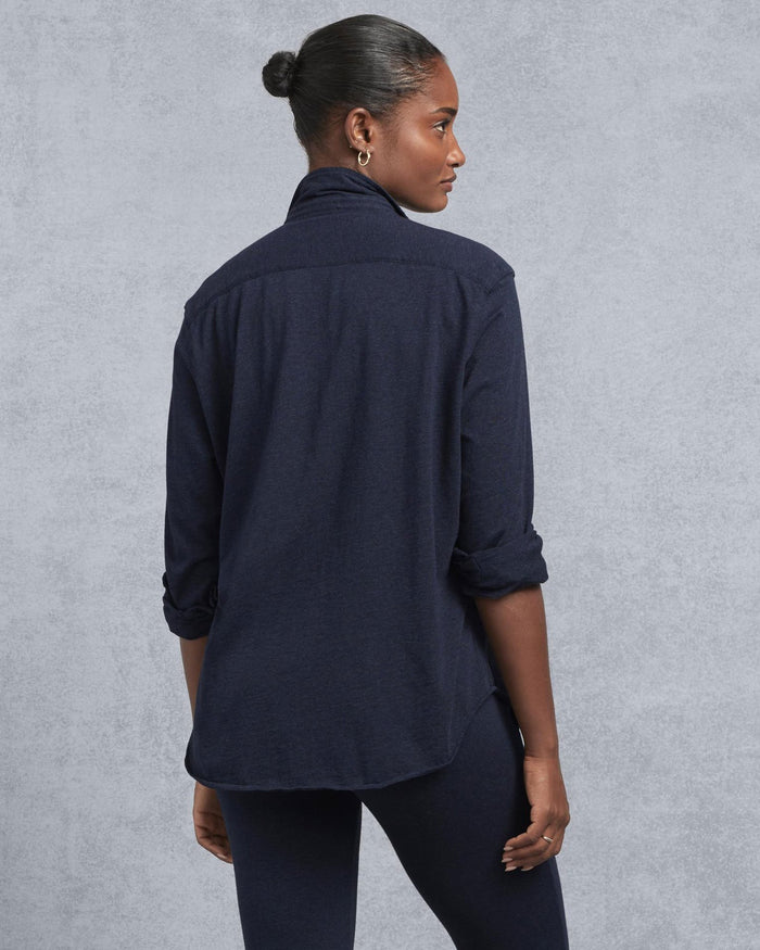 Tee Lab Clothing Eileen Knit Button Up in Navy Melange