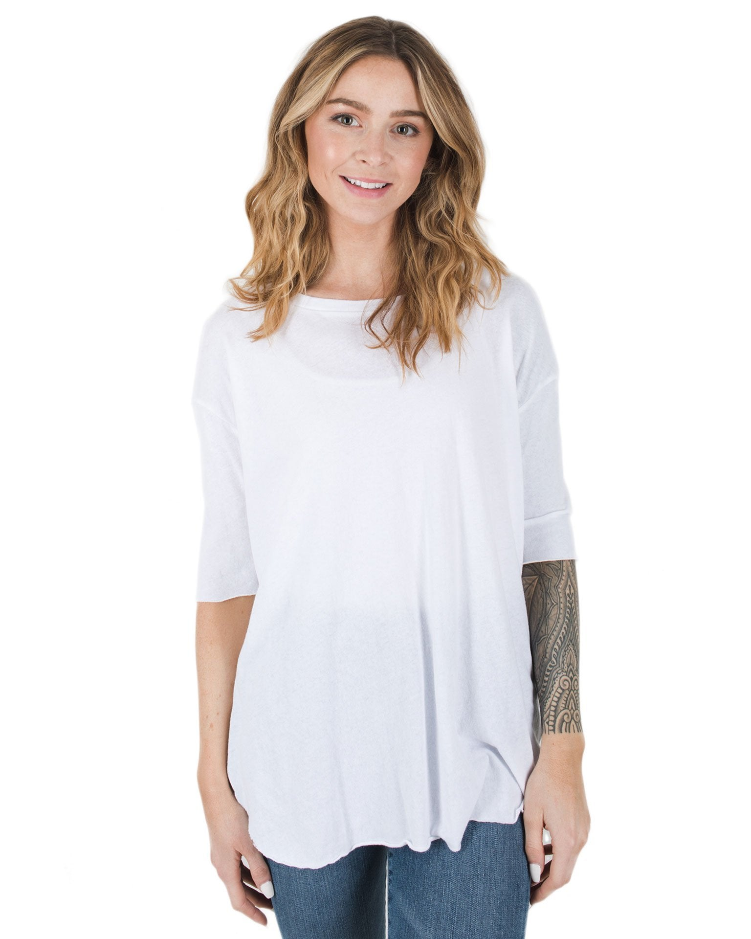 Tee Lab Clothing Whiteout / L Elbow Sleeve Drop Shoulder Tee