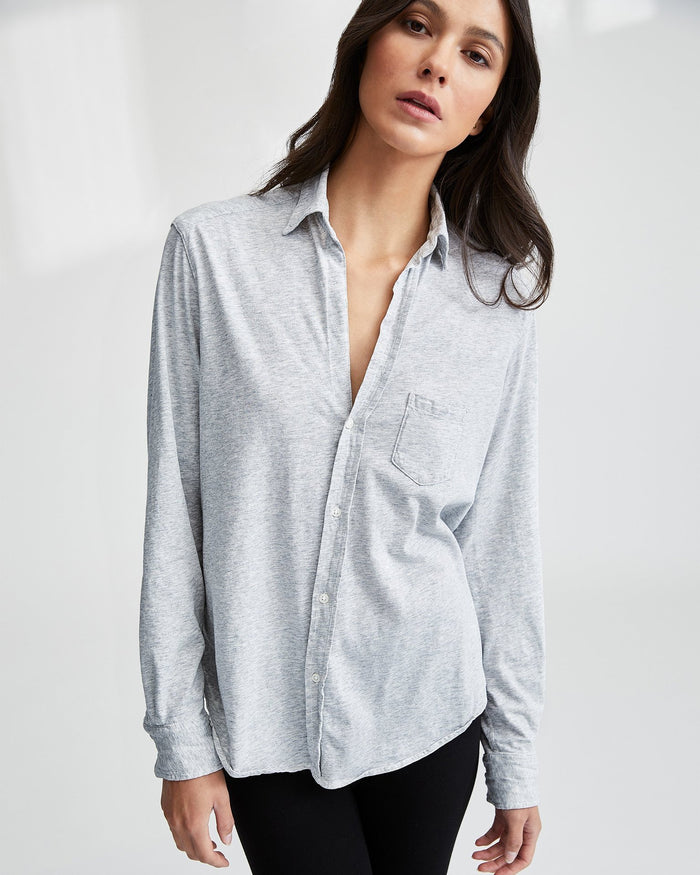 Tee Lab Clothing Gray Melange / XS Essential Jersey Eileen Knit Button Up