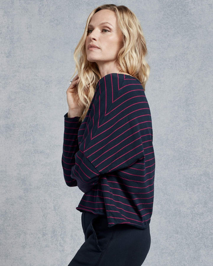 Tee Lab Clothing Long Sleeve Crop Tee in British Navy & Primrose Stripe