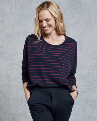Tee Lab Clothing British Navy & Primrose Stripe / XS Long Sleeve Crop Tee in British Navy & Primrose Stripe