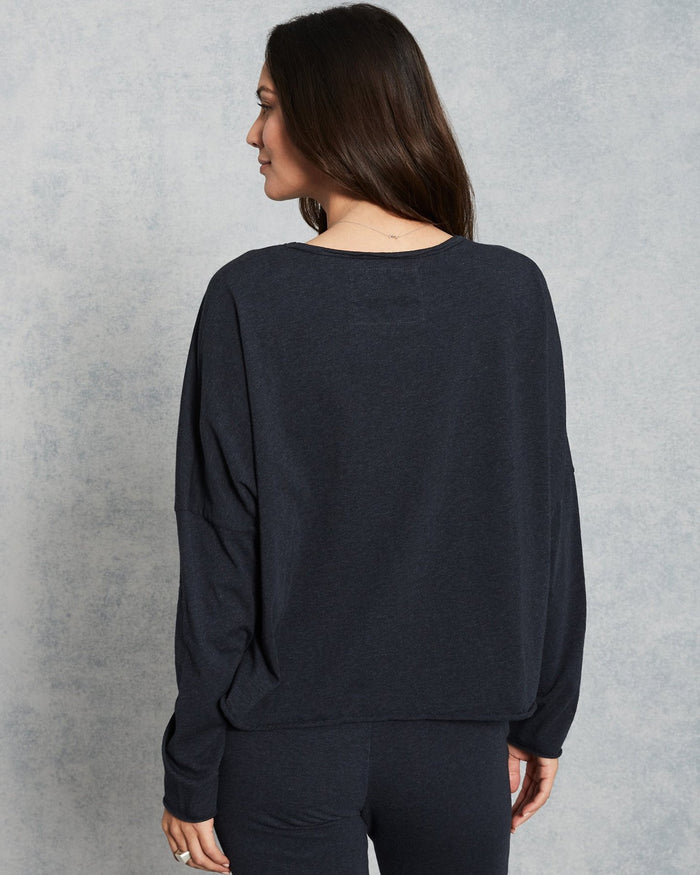 Tee Lab Clothing Long Sleeve Crop Tee in Navy Melange