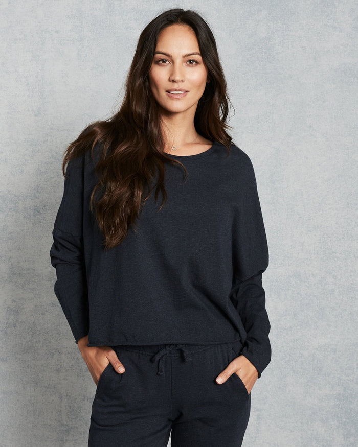 Tee Lab Clothing Navy Melange / XS Long Sleeve Crop Tee in Navy Melange