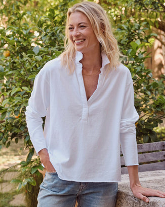 Tee Lab Clothing Popover Henley in White