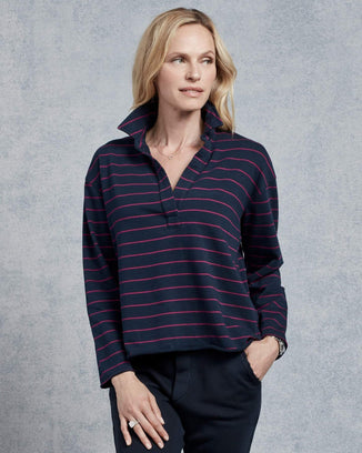 Tee Lab Clothing Pullover Henley in British Royal Navy & Primrose Stripe