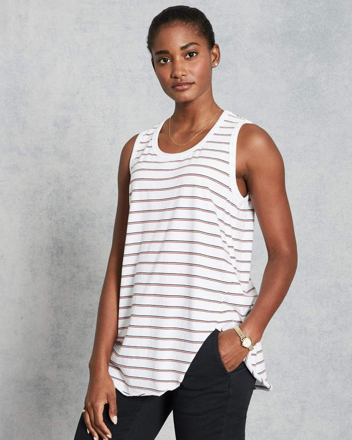 Tee Lab Clothing British Royal Navy Double Decker Red Stripe / XS Relaxed Asymmetric Tank