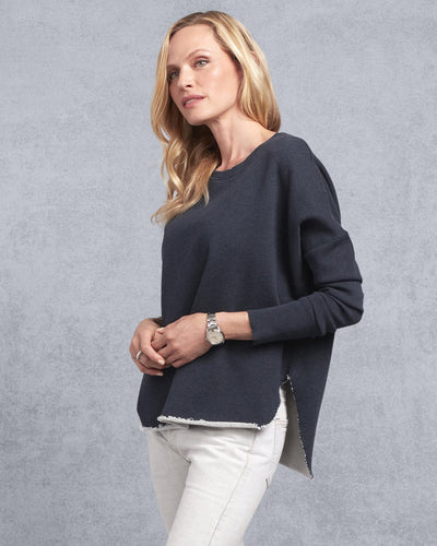 Tee Lab Clothing Relaxed Long Sleeve Sweatshirt in Navy Melange