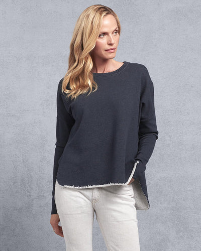 Tee Lab Clothing Navy Melange / XS Relaxed Long Sleeve Sweatshirt in Navy Melange