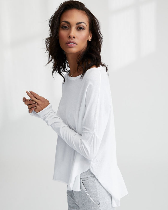 Tee Lab Clothing White / XS Relaxed Long Sleeve Tee