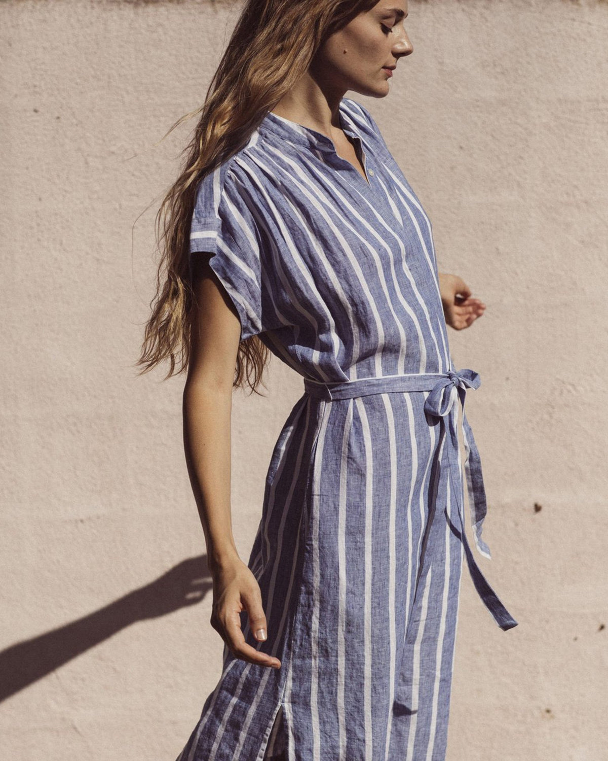 Trovata Clothing Astrid Easy Dress in Blue Awning Stripe